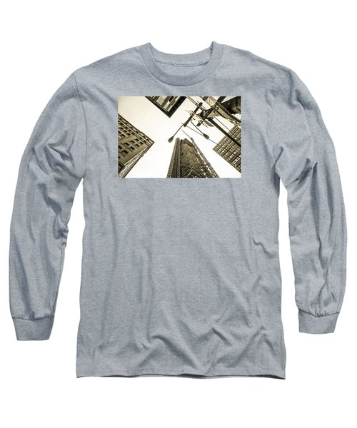 Skyscrapers In New York Seen From Long Sleeve T-Shirt by Perry Van Munster