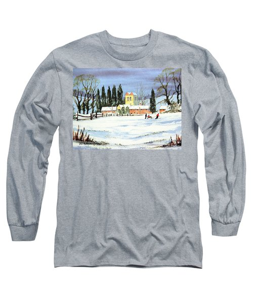 Long Sleeve T-Shirt featuring the painting Sledding With Dad by Bill Holkham