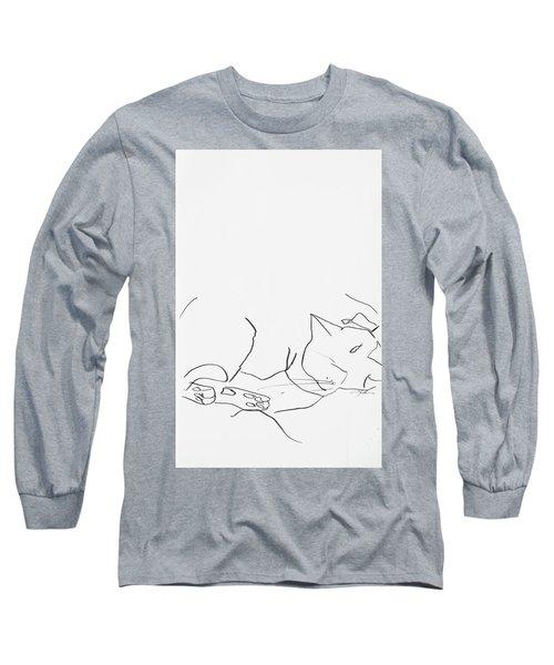 Sleeping Cat II Long Sleeve T-Shirt by Leela Payne
