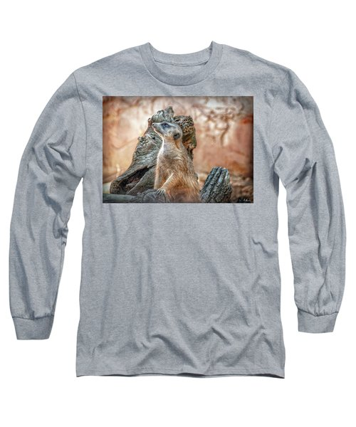 Long Sleeve T-Shirt featuring the photograph Slender-tailed Meerkat by Hanny Heim
