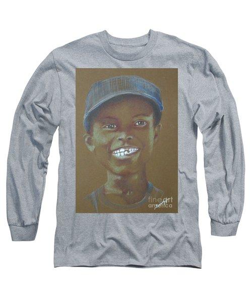 Small Boy, Big Grin -- Retro Portrait Of Black Boy Long Sleeve T-Shirt