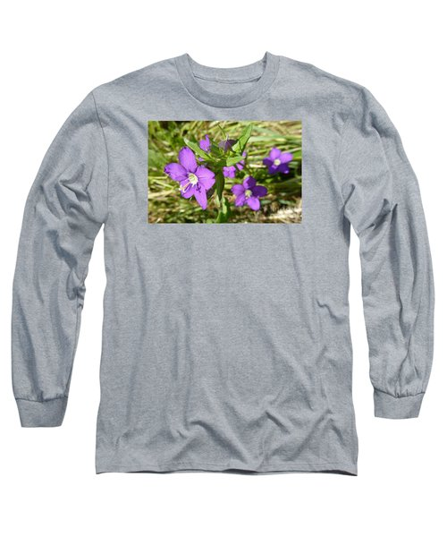 Long Sleeve T-Shirt featuring the photograph Small Mauve Flowers by Jean Bernard Roussilhe