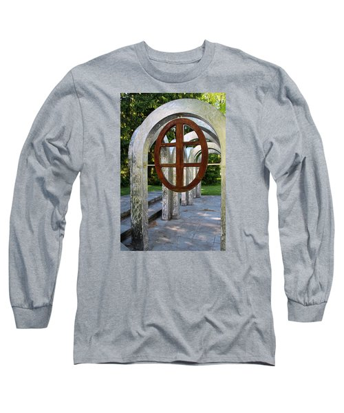 Long Sleeve T-Shirt featuring the photograph Small Park With Arches by Michiale Schneider