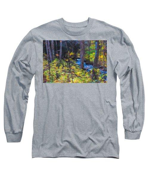 Small Stream Through Autumn Woods Long Sleeve T-Shirt