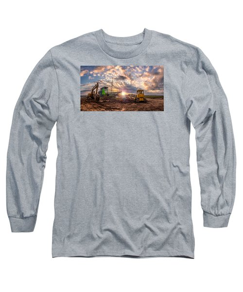 Smart Financial Centre Construction Sunset Sugar Land Texas 11 21 2015 Long Sleeve T-Shirt by Micah Goff