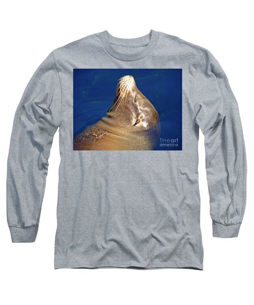 Long Sleeve T-Shirt featuring the photograph Smiling Seal In Blue Water by Maja Sokolowska