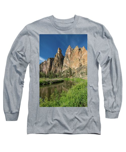 Smith Rock Spires Long Sleeve T-Shirt by Greg Nyquist