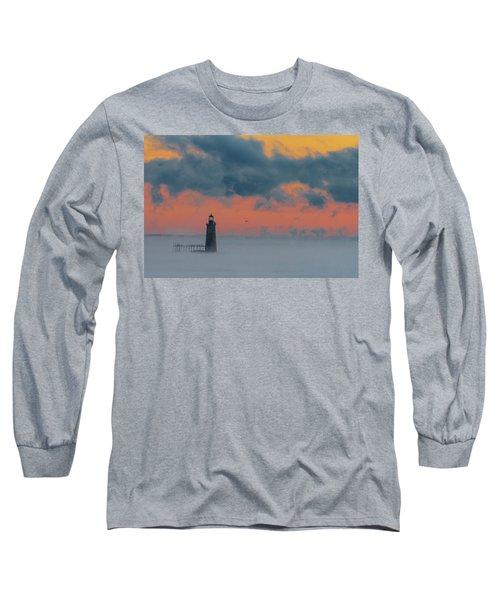 Smokey Sunrise At Ram Island Ledge Light Long Sleeve T-Shirt