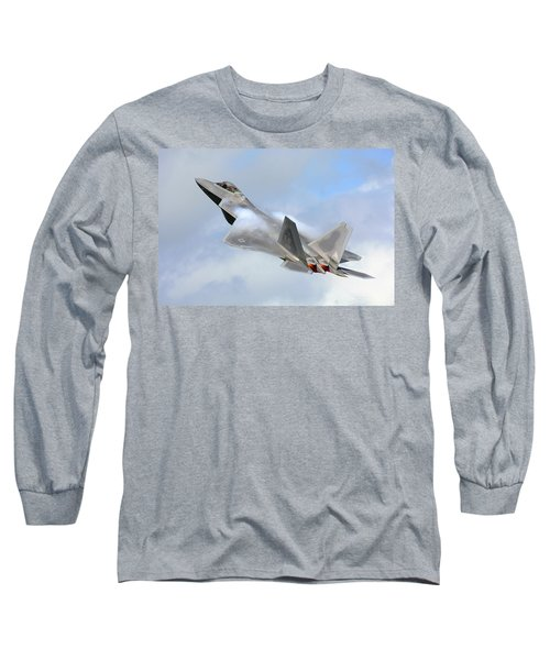 Long Sleeve T-Shirt featuring the digital art Smokin - F22 Raptor On The Go by Pat Speirs