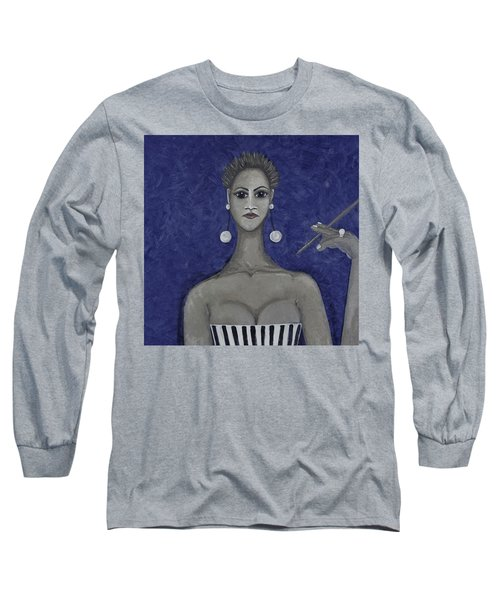 Smoking Woman 3 - Blue Long Sleeve T-Shirt