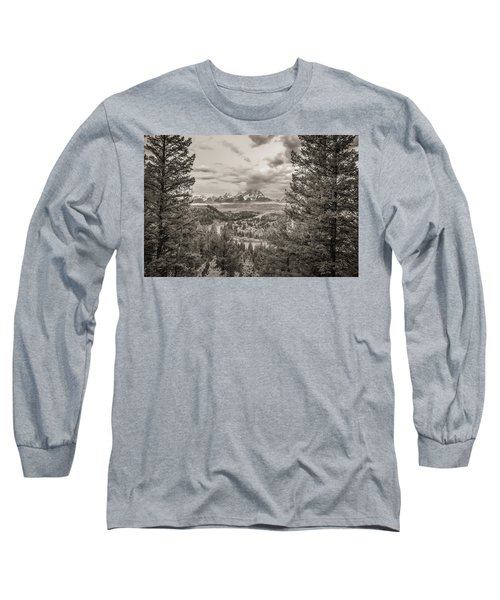 Snake River Overlook Grand Teton Monochromatic Long Sleeve T-Shirt