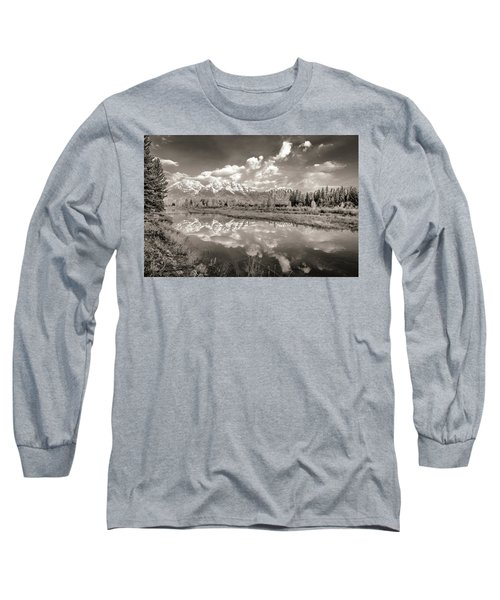 Snake River Reflection Grand Teton Monochromatic Long Sleeve T-Shirt