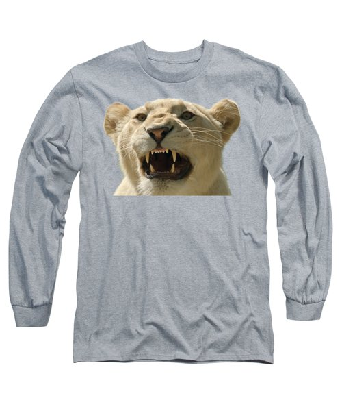 Snarling Lion Long Sleeve T-Shirt by Scott Carruthers