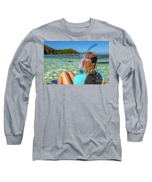 Snorkeler Relaxing On Tropical Beach Long Sleeve T-Shirt