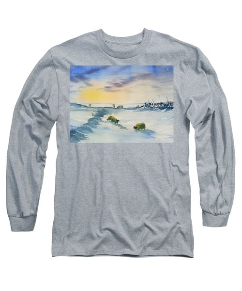 Snow And Sheep On The Moors Long Sleeve T-Shirt