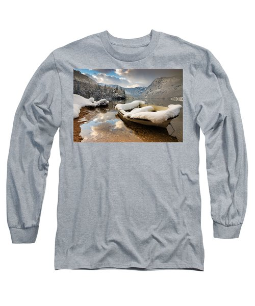Snow Covered Boat On Lake Bohinj In Winter Long Sleeve T-Shirt