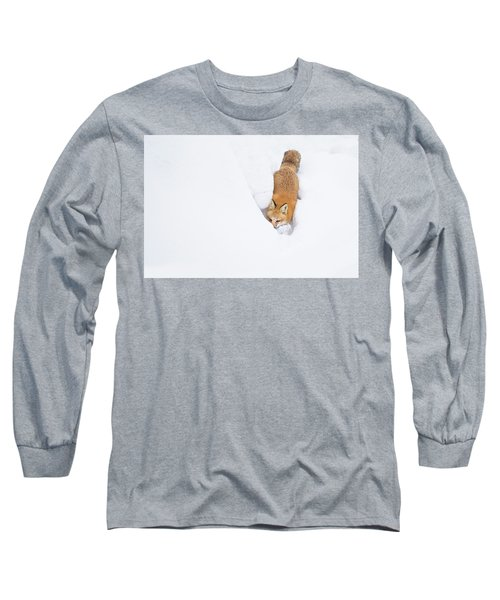 Long Sleeve T-Shirt featuring the photograph Snow-diving Fox  by Mircea Costina Photography