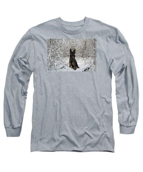 Snow Dog Long Sleeve T-Shirt by Nikki McInnes
