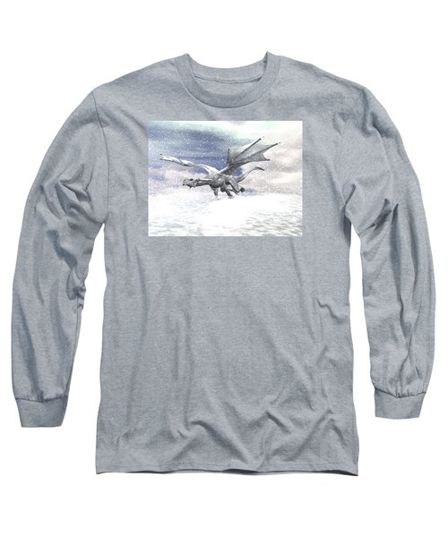 Snow Dragon Long Sleeve T-Shirt by Michele Wilson