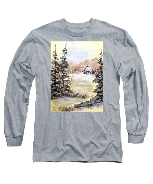 Long Sleeve T-Shirt featuring the painting Snow Everywhere by Dorothy Maier
