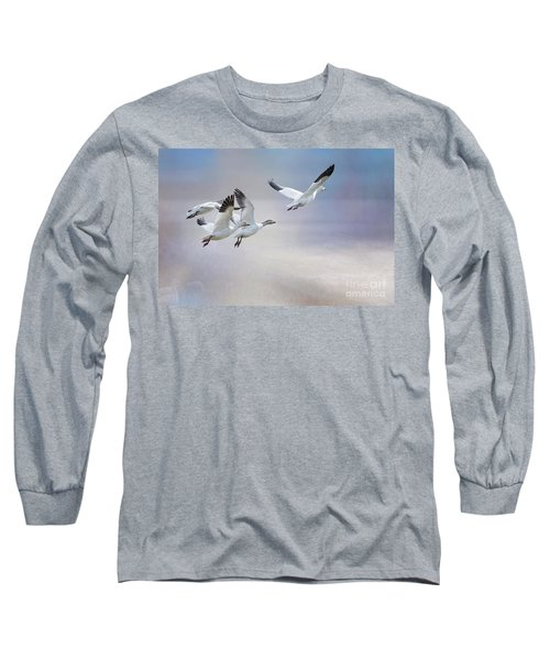 Snow Geese In Flight Long Sleeve T-Shirt by Bonnie Barry