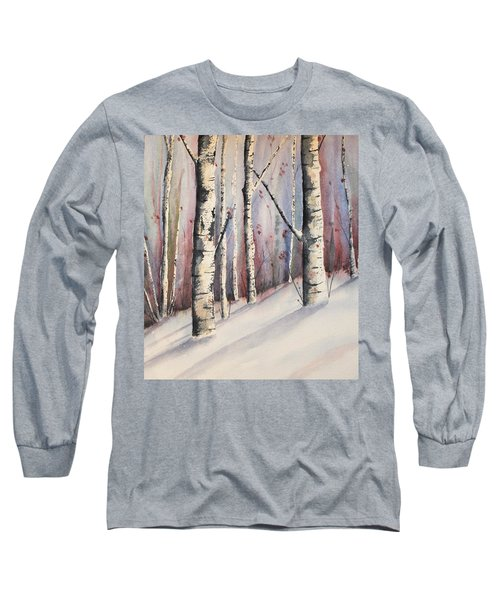 Snow In Birches Long Sleeve T-Shirt