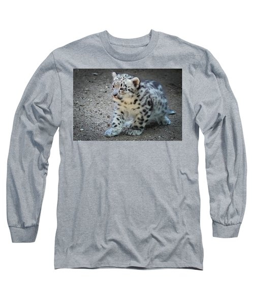 Snow Leopard Cub Long Sleeve T-Shirt by Terry DeLuco