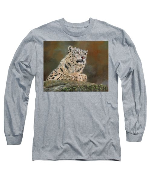 Snow Leopard On Rock Long Sleeve T-Shirt by David Stribbling