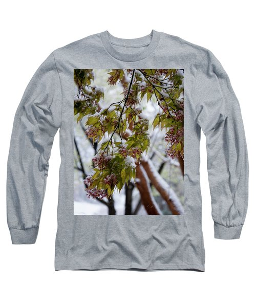 Long Sleeve T-Shirt featuring the photograph snow on the Cherry blossoms by Chris Flees