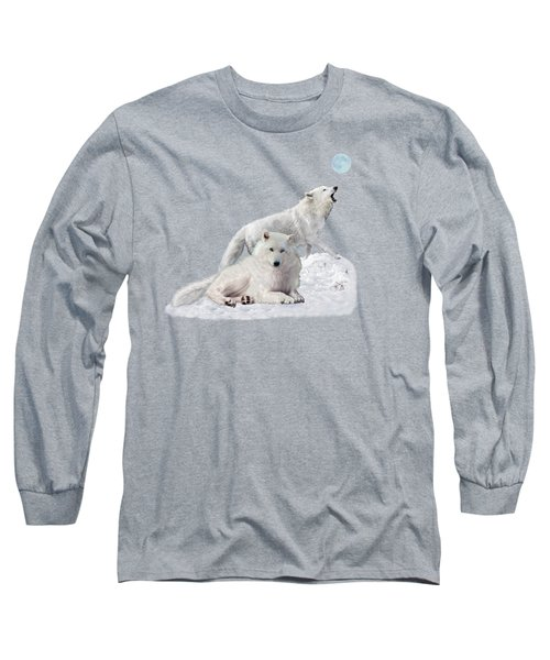 Snow Wolves Of The Wild Long Sleeve T-Shirt by Glenn Holbrook