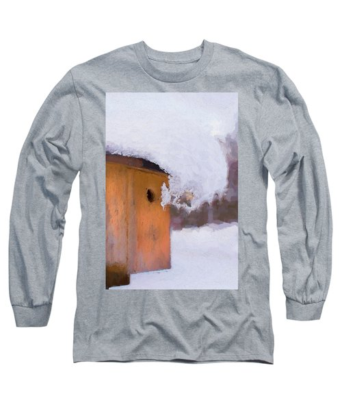 Long Sleeve T-Shirt featuring the photograph Snowdrift On The Bluebird House by Gary Slawsky