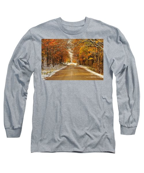 Snowy Autumn Morning In Pure Michigan Long Sleeve T-Shirt