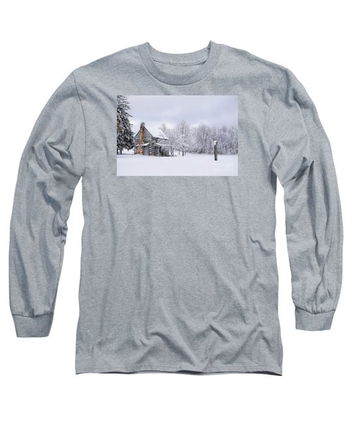 Snowy Cabin Long Sleeve T-Shirt by Benanne Stiens