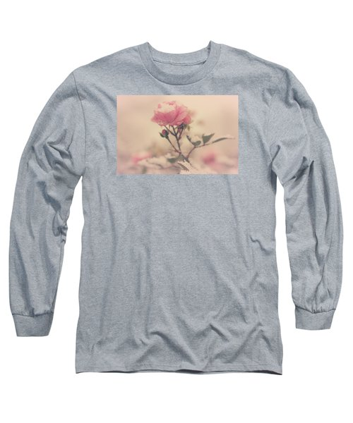 Snowy Day Of Roses Long Sleeve T-Shirt by The Art Of Marilyn Ridoutt-Greene