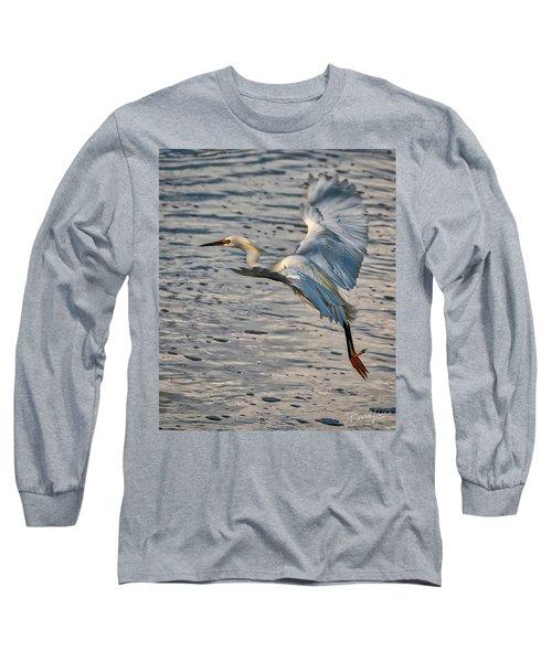 Snowy Egret Landing Long Sleeve T-Shirt