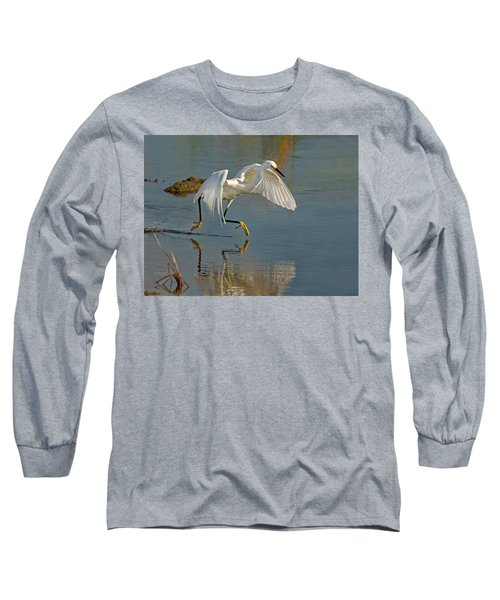 Snowy Egret On The Move Long Sleeve T-Shirt