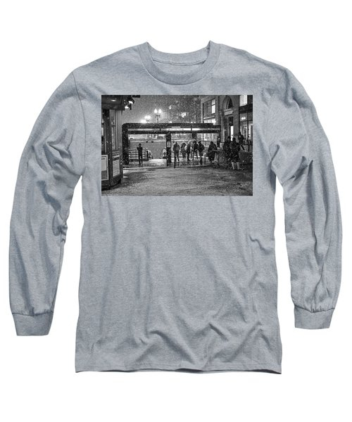 Snowy Harvard Square Night- Harvard T Station Black And White Long Sleeve T-Shirt