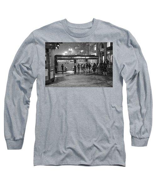 Snowy Harvard Square Night- Harvard T Station Black And White Long Sleeve T-Shirt