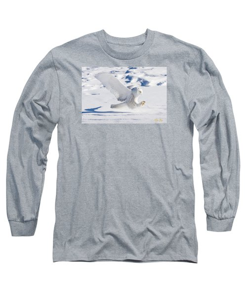 Snowy Owl Pouncing Long Sleeve T-Shirt by Rikk Flohr