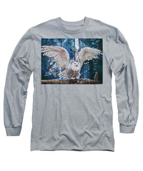 Snowy Owl On Takeoff  Long Sleeve T-Shirt by Sharon Duguay