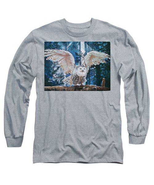 Snowy Owl On Takeoff  Long Sleeve T-Shirt