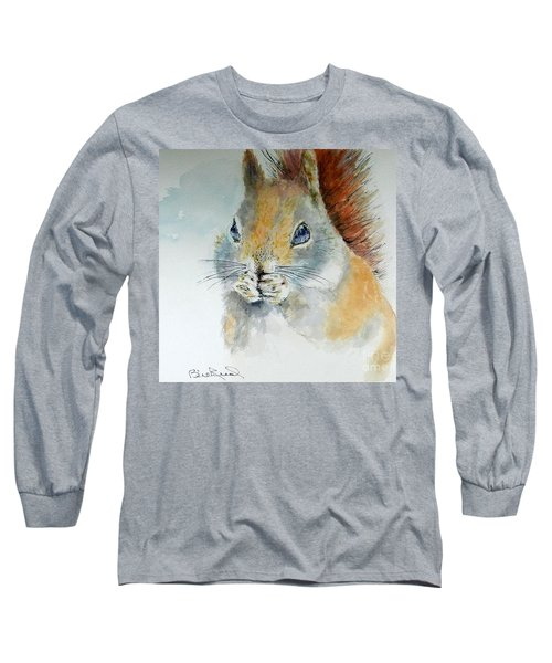Snowy Red Squirrel Long Sleeve T-Shirt by William Reed