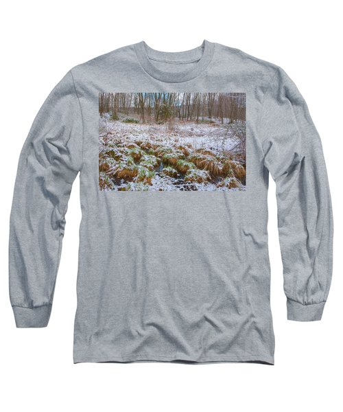 Snowy Wetlands Long Sleeve T-Shirt by Angelo Marcialis