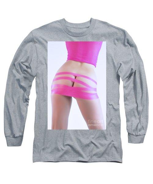 Soft Pink Tape Long Sleeve T-Shirt by Robert WK Clark