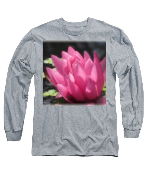 Long Sleeve T-Shirt featuring the photograph Soft Touch Red Lotus by Debra     Vatalaro