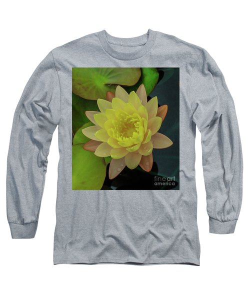 Softly Pink And Yellow Lilly Long Sleeve T-Shirt