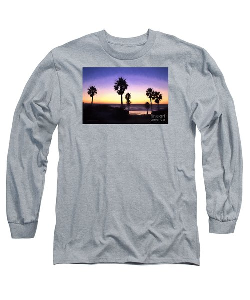 Solana Beach Sunset - Digital Painting Long Sleeve T-Shirt by Sharon Soberon