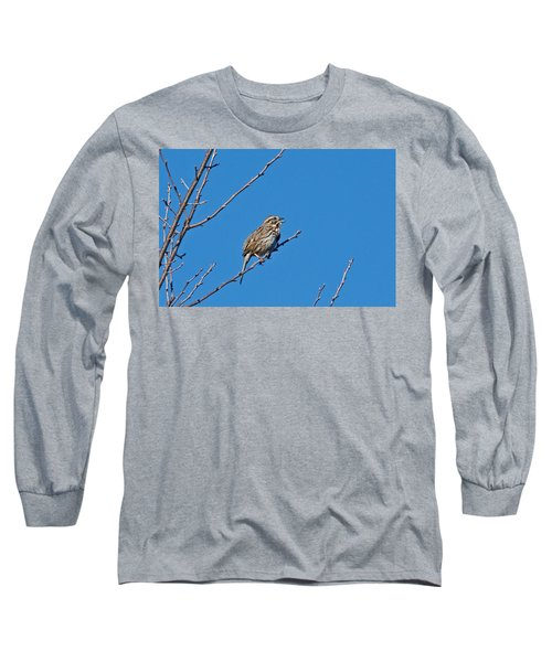 Long Sleeve T-Shirt featuring the photograph Song Sparrow by Michael Peychich