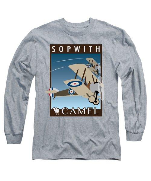 Sopwith Camel - Art Deco Print Long Sleeve T-Shirt