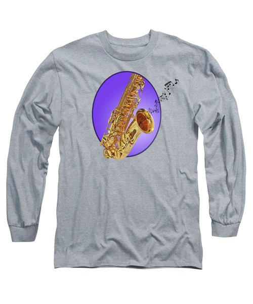 Sounds Of The Sax In Purple Long Sleeve T-Shirt by Gill Billington